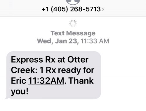 Receive text messages when your prescriptions are ready